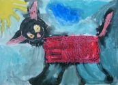 Аргаузов Максим, 6 лет, Гуляющий котёнок, тема Домашние животные, гуашь