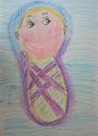 Безносова Лера,  6 лет, Я озорная, красивая, мне 1 месяц, тема Я в прошлом, масляная пастель