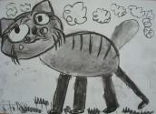 Драничникова Настя, 6 лет, Бездомный кот, тема Домашние животные, гуашь