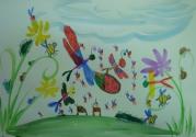 Исаева Аня, 6 лет, Насекомые веселятся на летней полянке, тема Насекомые, акварель, фломастеры