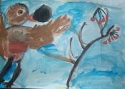 Кармацких Маргарита, 6 лет, Птичка строит гнездо, тема Птицы, гуашь