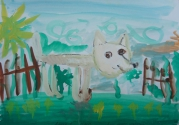 Кузмин Даня, 6 лет, Джеп нюхает цветы, тема Домашние животные, гуашь