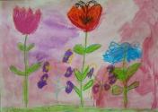 Мулинцева Дана, 6 лет, Дружелюбные цветочки, тема Весенние цветы, масляная пастель, акварель