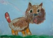 Нефёдов Ваня, 6 лет, Собака гуляет на свежем воздухе, тема Домашние животные, гуашь