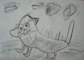 Никитин Ваня, 6 лет, Грязная кошка, тема Домашние животные, уголь
