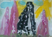 Осинцев Сергей, 6 лет, Конфетные, сахарные горы, тема Путешествие в горы, гуашь