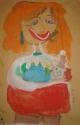 Поспелова Нина, 6 лет, Я- умная, люблю играть с детьми, тема Я в будущем, гуашь