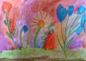 Шакиров Егор, 6 лет, Разноцветные цветы, тема Весенние цветы, масляная пастель, акварель