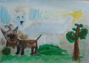 Сухинин Артём, 6 лет, Варя и Фима на прогулке, тема Домашние животные, гуашь