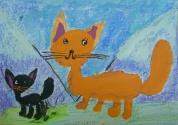 Терёхина Наташа, 6 лет, Ричард и Дуся гуляют по горам, тема Домашние животные, гуашь