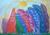 Токарев Коля, 6 лет, Разноцветные горы, тема Путешествие в горы, гуашь