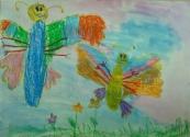 Тутынина Лиза, 6 лет, Лёгкие бабочки, тема Насекомые, масляная пастель, акварель