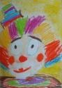 Верещагина Надя, 6 лет, Задумчивый клоун, тема Эмоции, масляная пастель