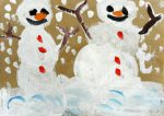 Саша Снеговики радуются снегу